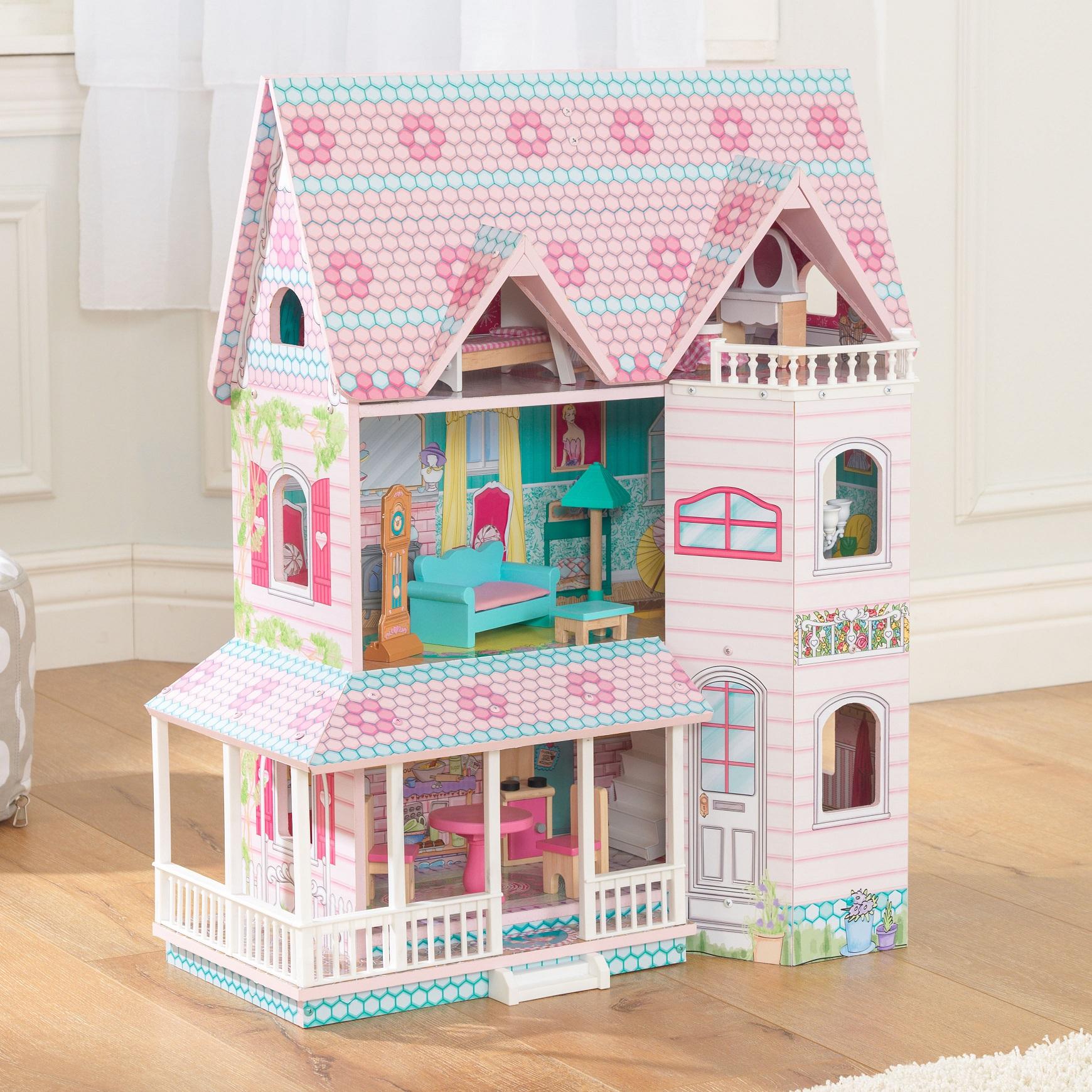 Preciosa imagen de la casa de muñecas kidkraft abbey manor 65941 width=