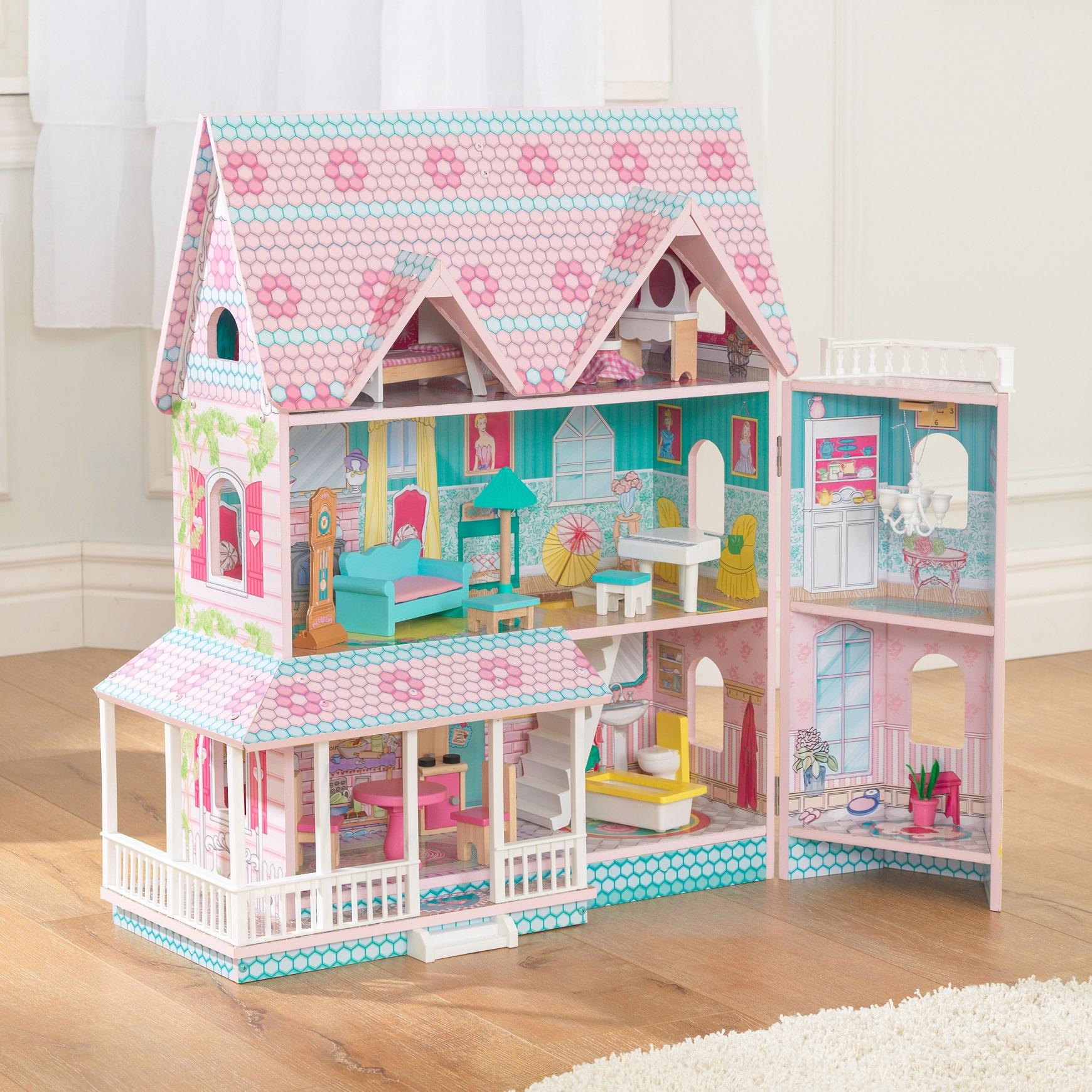 Casa de muñecas kidkraft abbey manor 65941 abierta gracias a su fantástico sistema de bisagras width=