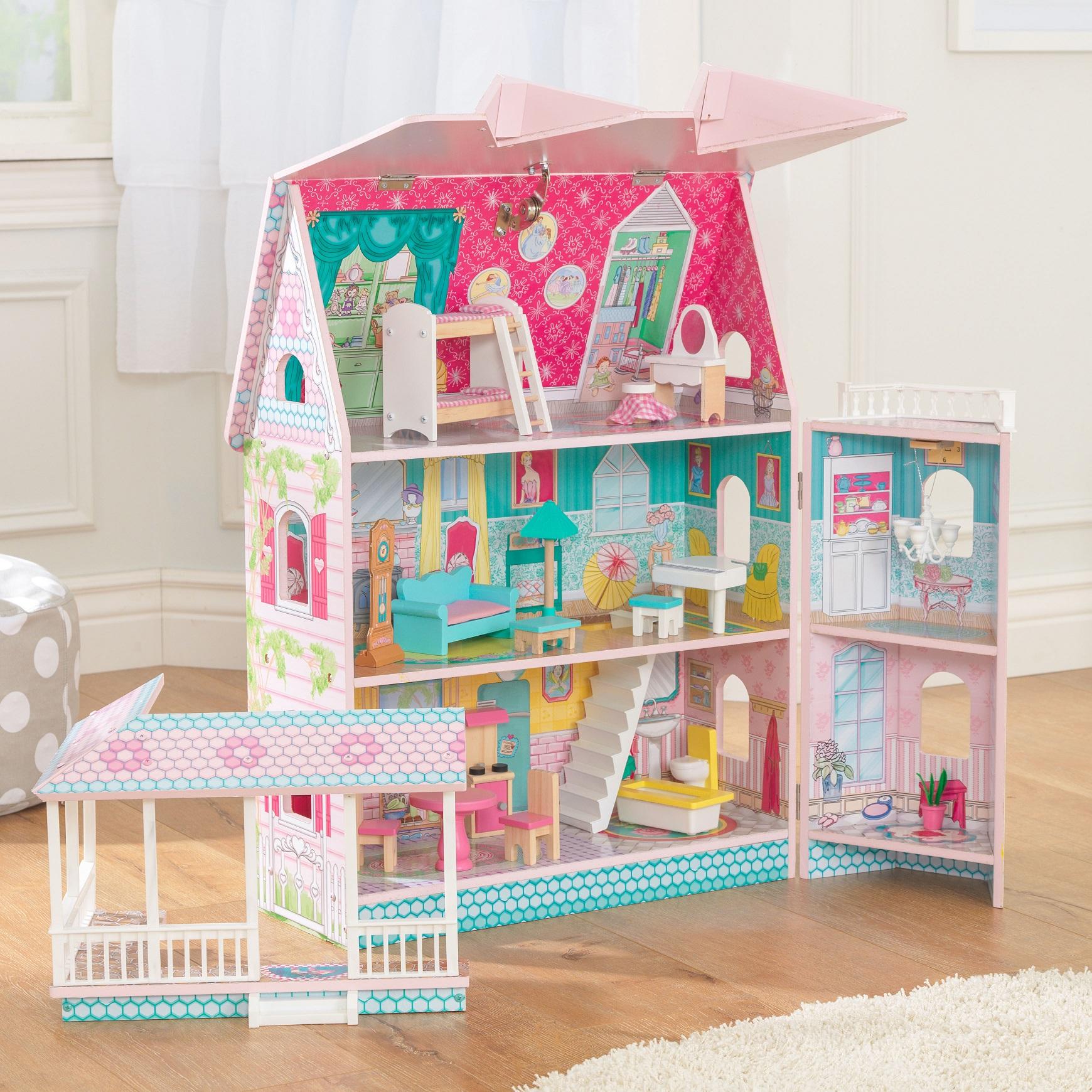 Imagen donde de pueden apreciar todas las estancias de la casa de muñecas kidkraft abbey manor 65941 width=