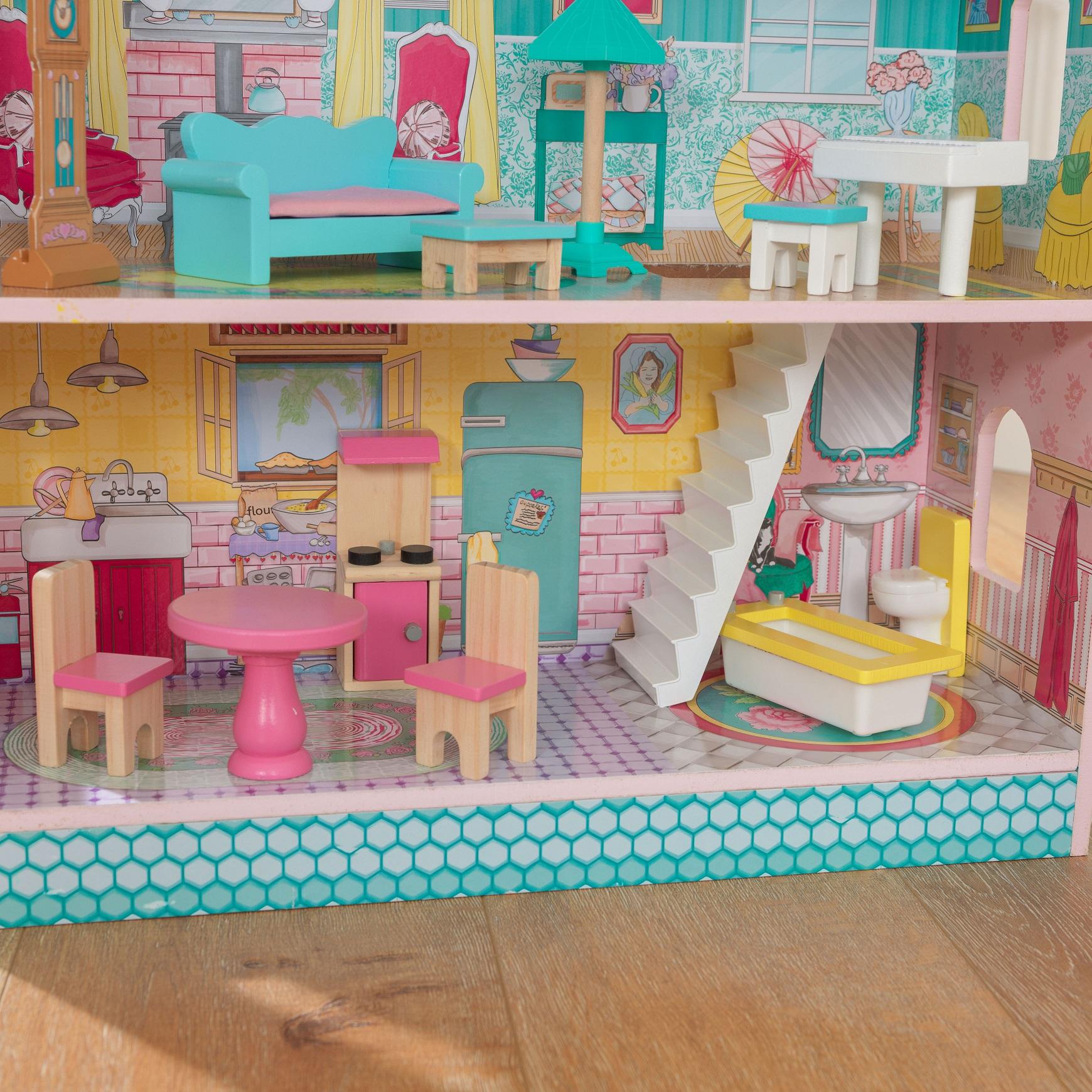 Detalle de varias estancias de la casa de muñecas kidkraft abbey manor 65941 width=