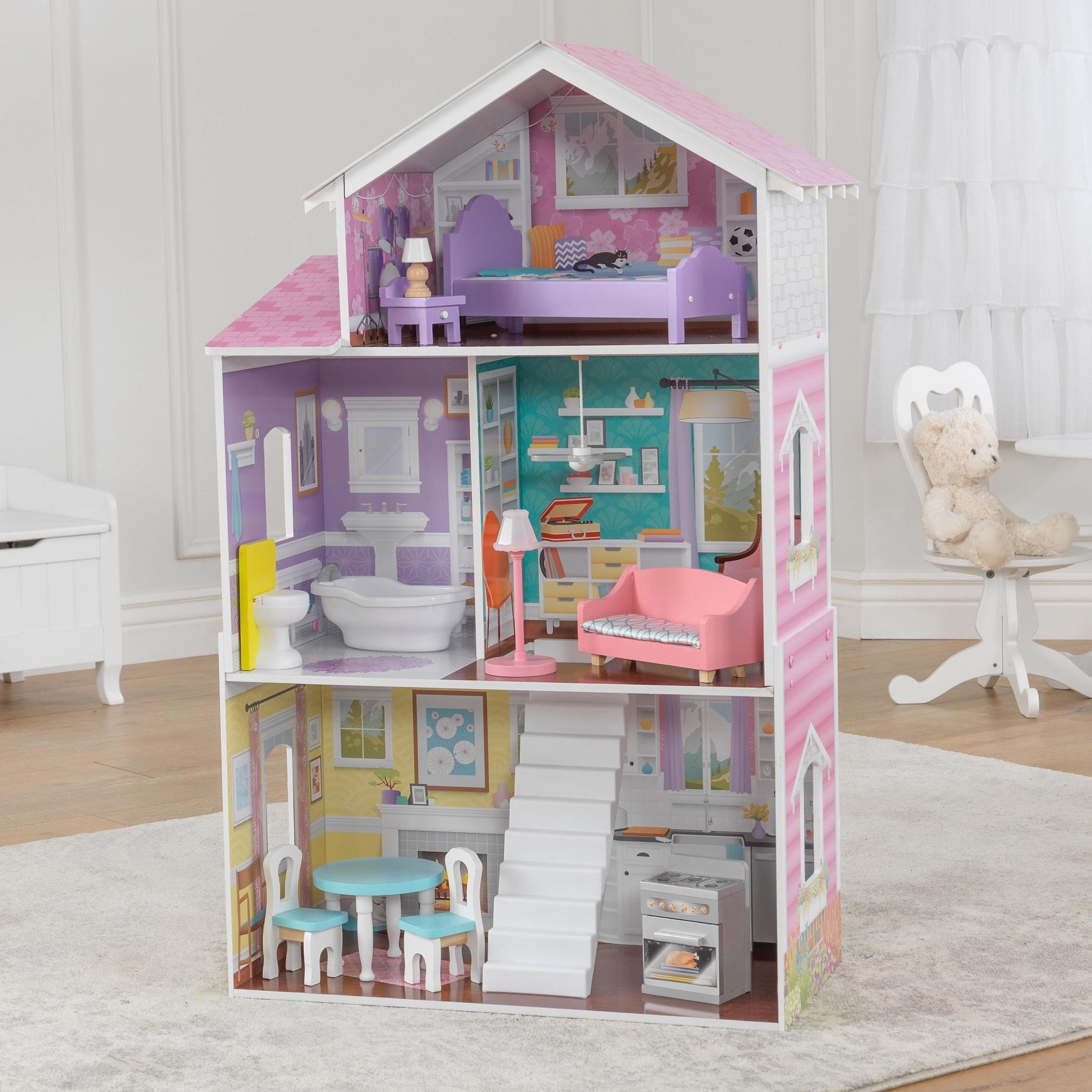 Imagen con todos los accesorios de la kidkraft casa de muñecas glendale manor 65940 width=