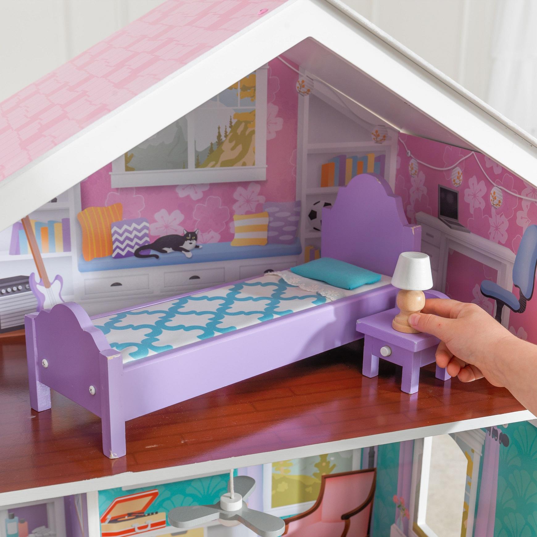 Dormitorio superior de la kidkraft casa de muñecas glendale manor 65940 width=