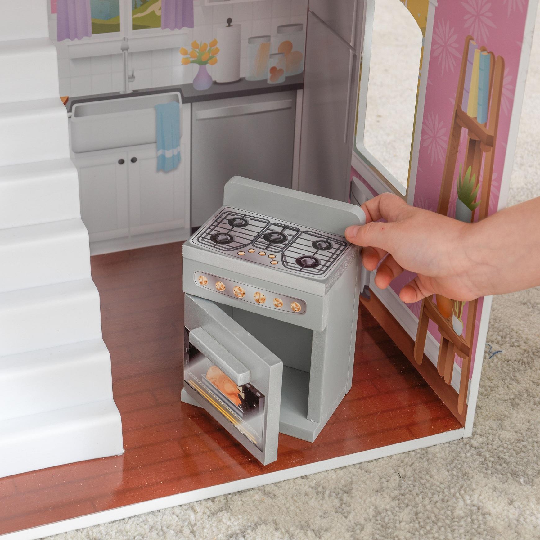Detalle horno en cocina de la kidkraft casa de muñecas glendale manor 65940 width=