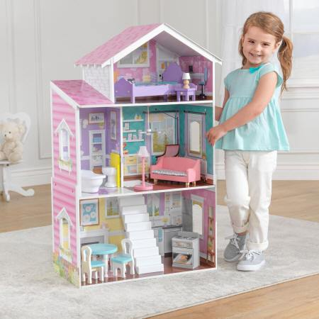 Niña jugando con la preciosa kidkraft casa de muñecas glendale manor 65940 width=