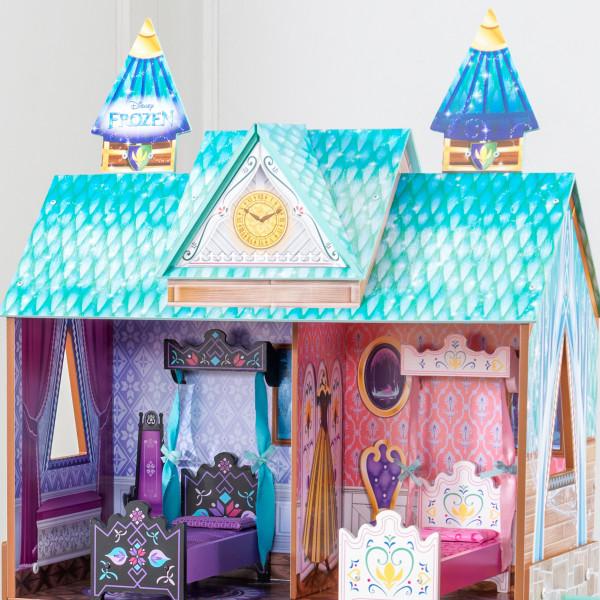 Detalle de las dos habitaciones superiores de kidkraft palacio de arendelle de frozen 65945