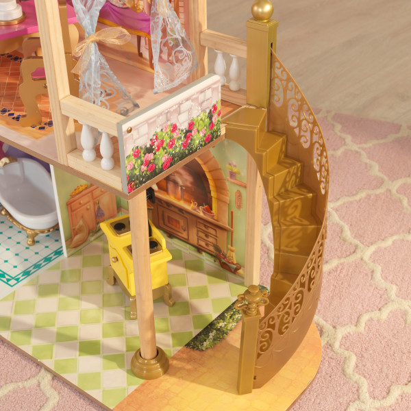Detalle de la escalera de la casa de muñecas kidkraft disney princess royal celebration 65962