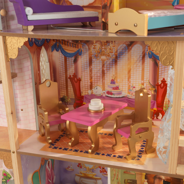 Mesa y sillas del salón de la casa de muñecas kidkraft disney princess royal celebration 65962