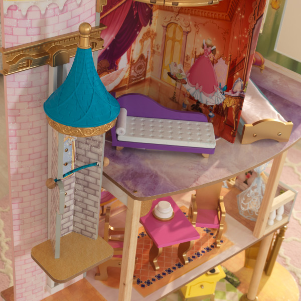 Detalle ascensor y sofá de casa de muñecas kidkraft disney princess royal celebration 65962