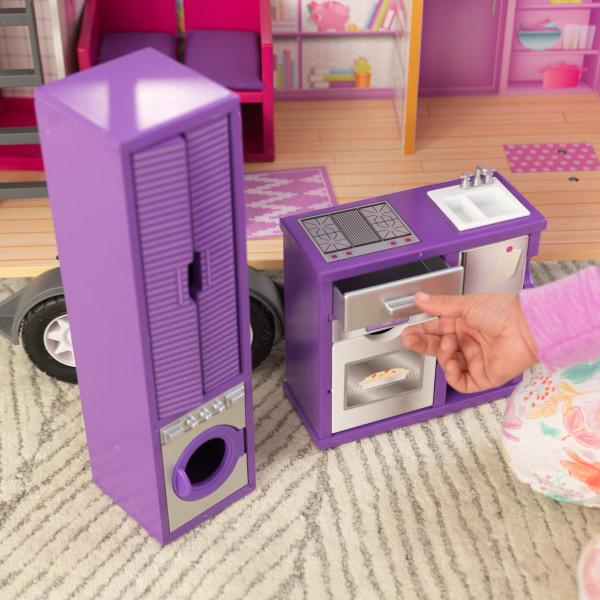 Detalle accesorios horno y lavadora de la casa de muñecas kidkraft 65948 teeny house width=