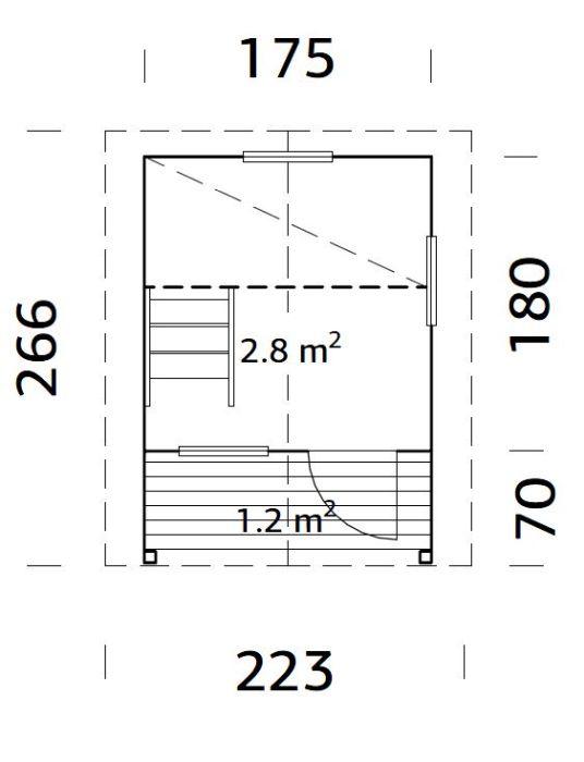 Casita de madera Elina - vista medidas