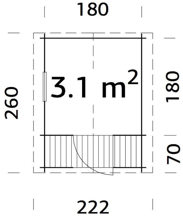 Casita de madera Stina- vista medidas