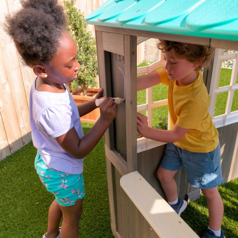 Casita de madera para exterior de niños coastal cottage pizarra