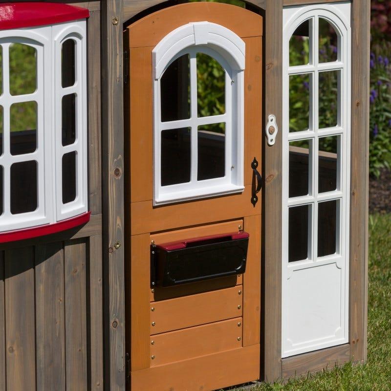 Puerta de casita de madera para exterior de niños greystone cottage - kidkraft