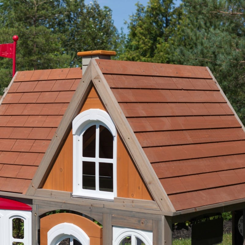Tejado de casita de madera para exterior de niños greystone cottage - kidkraft