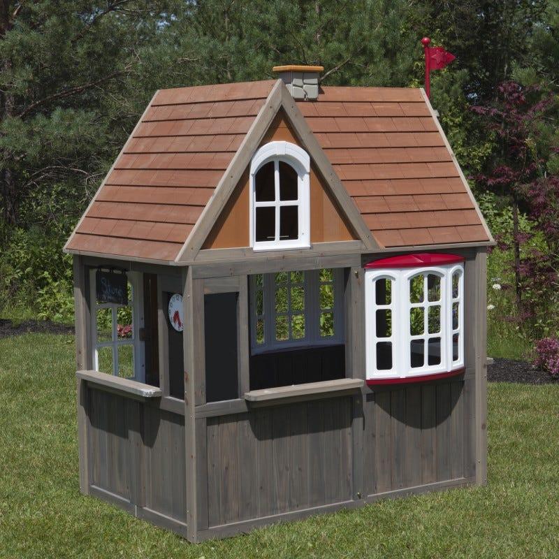 Casita de madera para exterior de niños greystone cottage - kidkraft