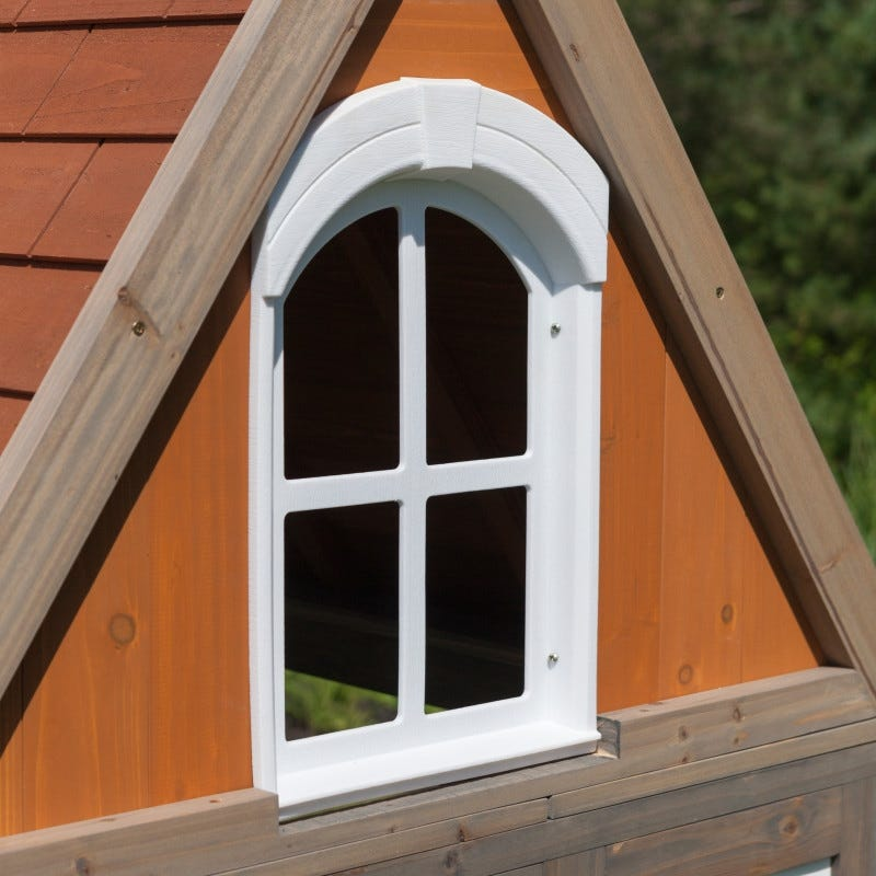 Ventana de casita de madera para exterior de niños greystone cottage - kidkraft