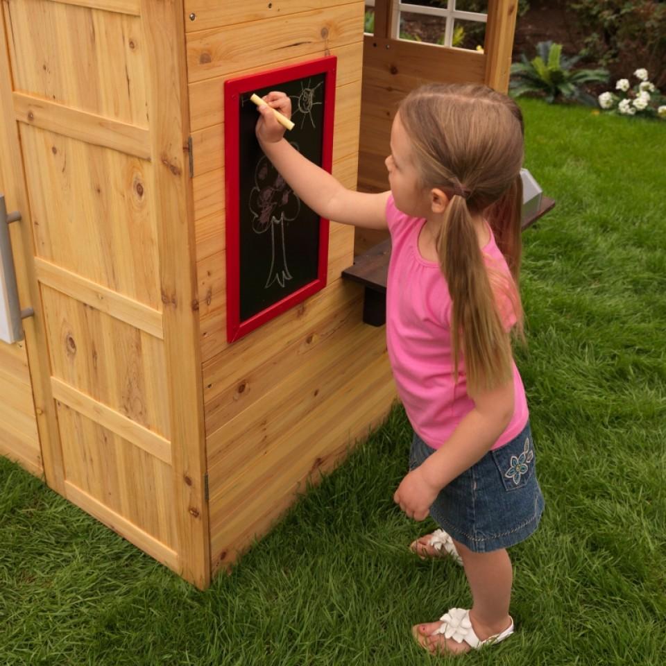 kidkraft casa moderna de madera para exteriores pizarra