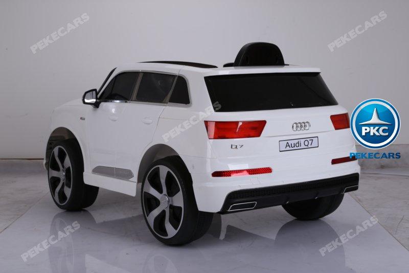 Coche electrico infantil Audi Q7 S-Line Blanco luces LED traseras