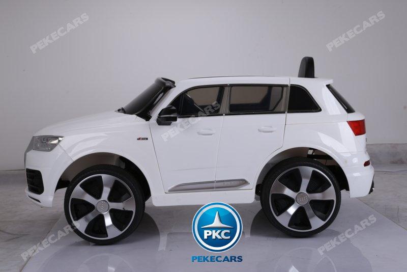 Coche electrico para niños Audi Q7 S-Line Blanco visto de lado