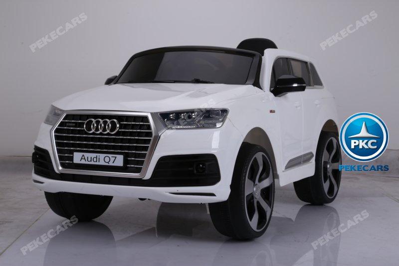 Coche electrico infantil Audi Q7 S-Line Blanco ruedas de caucho antipinchazos