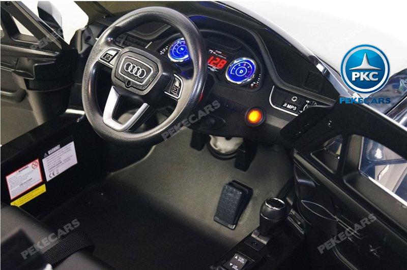 Coche electrico para niños Audi Q7 S-Line Blanco detalles del interior
