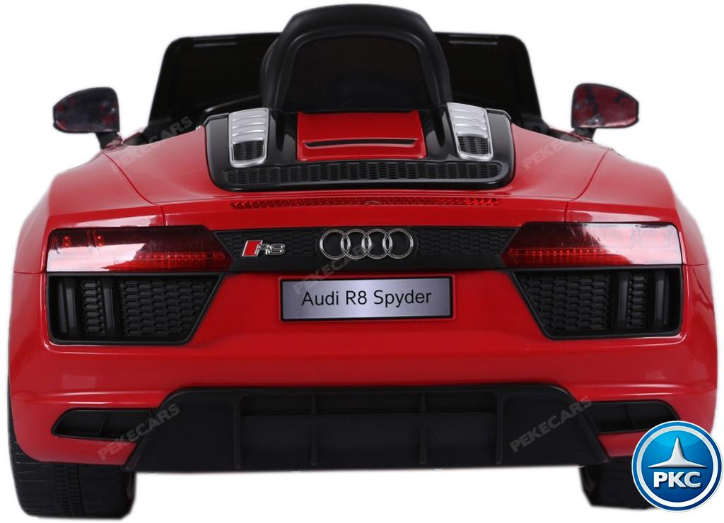 Vista trasera Audi R8 Spyder rojo para niños width=