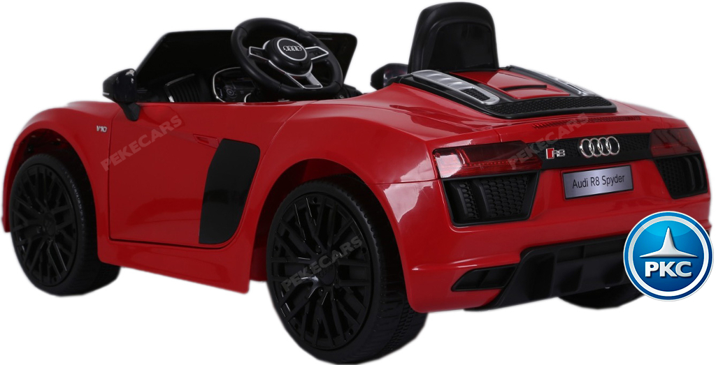 Audi R8 spyder rojo visto desde atras width=