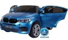 Inforchess - Coche electrico infantil BMW X6 2 plazas Azul Metalizado con luces LED