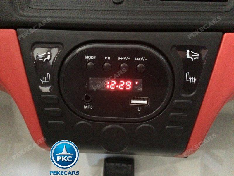 BMW X6 12V 2.4G 2 Plazas color Plata metalizado - Vista voltimetro, MP3, USB width=