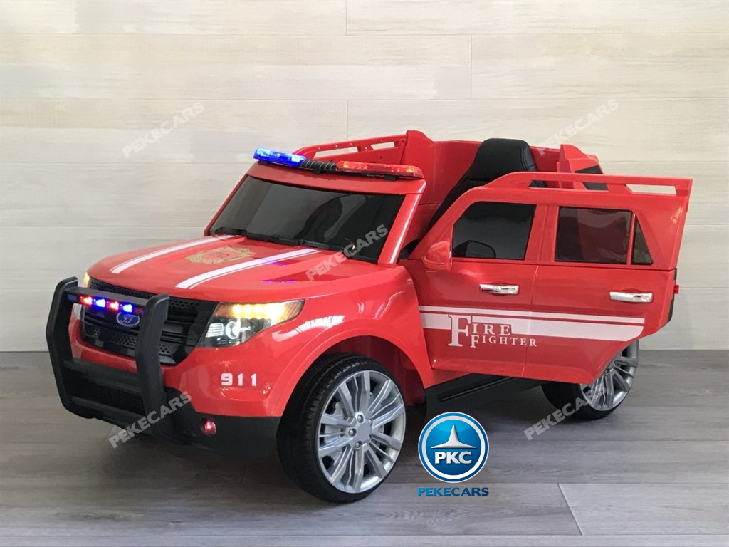 coche electrico jefe de bomberos rojo 12v-004
