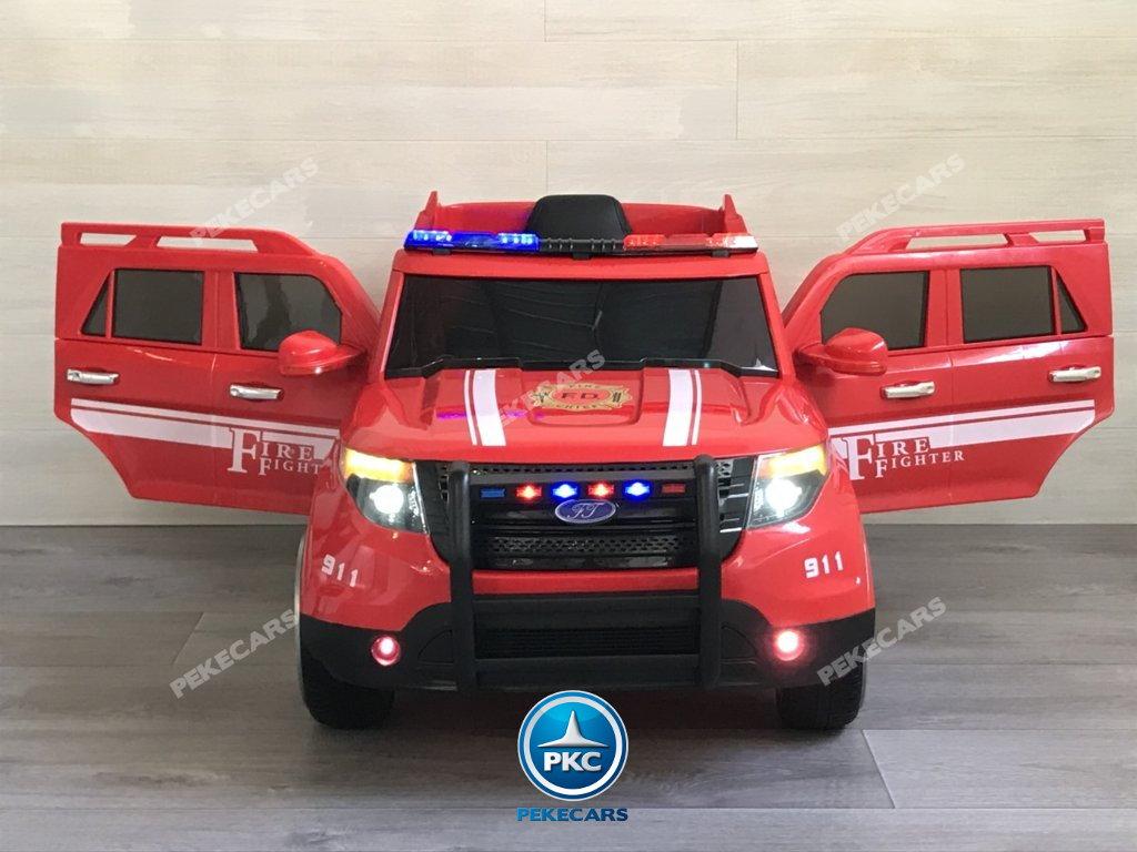 coche electrico jefe de bomberos rojo 12v-005