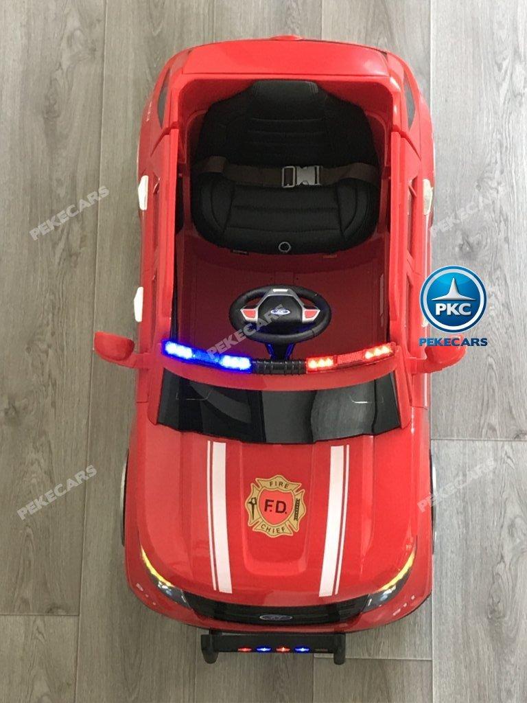 coche electrico jefe de bomberos rojo 12v-006
