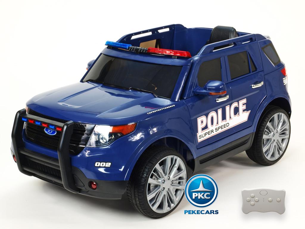 Pekecars Coche Electrico De Policia Azul 12V-003