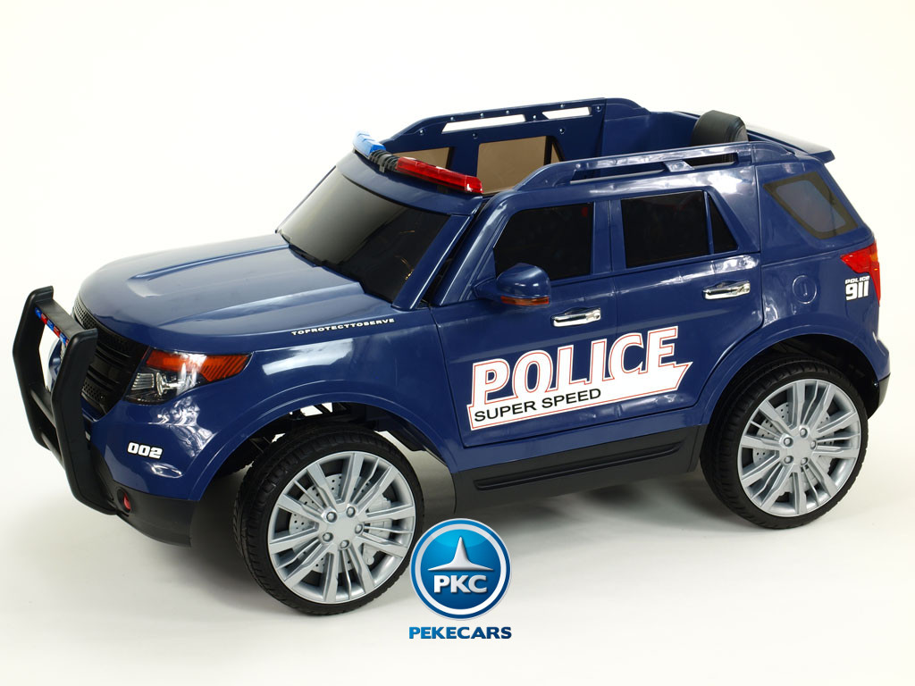 Pekecars Coche Electrico De Policia Azul 12V-006