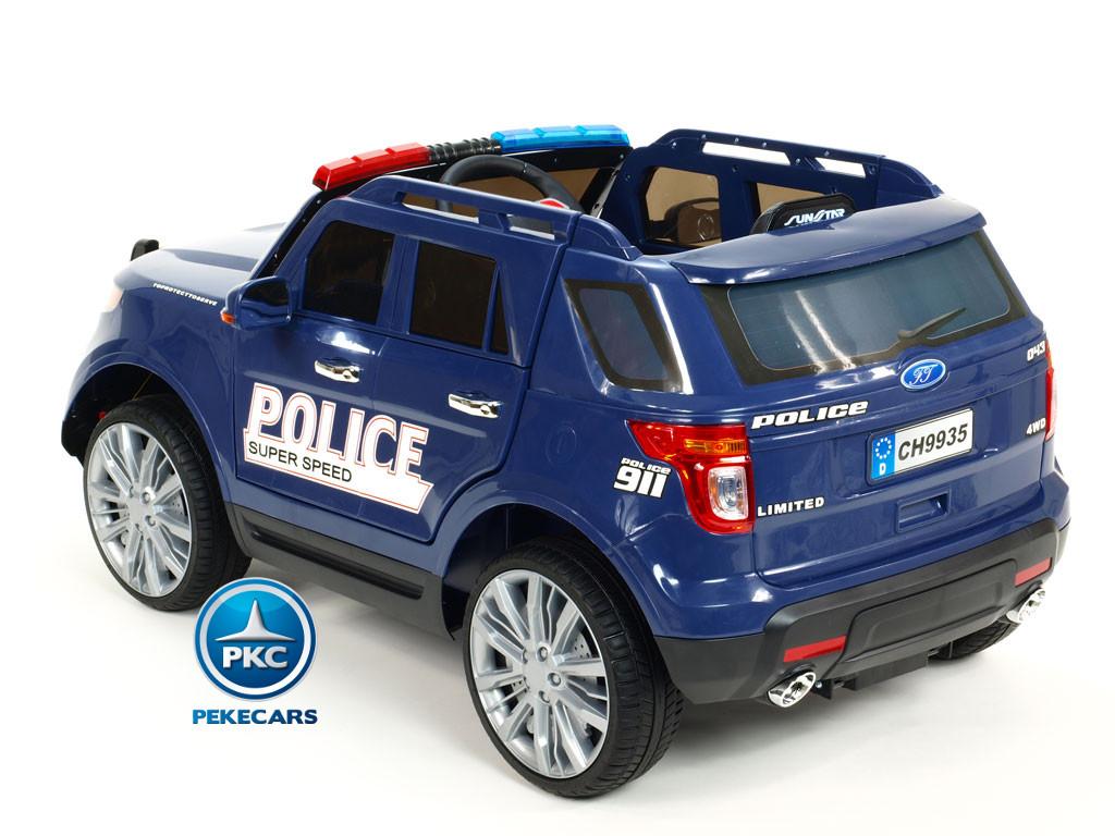 Pekecars Coche Electrico De Policia Azul 12V-007