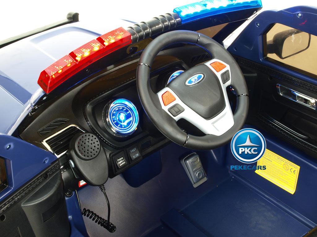 Pekecars Coche Electrico De Policia Azul 12V-009