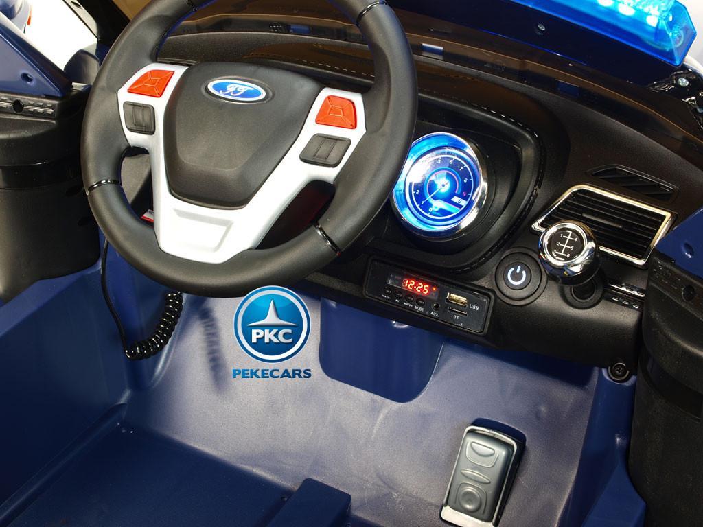 Pekecars Coche Electrico De Policia Azul 12V-010