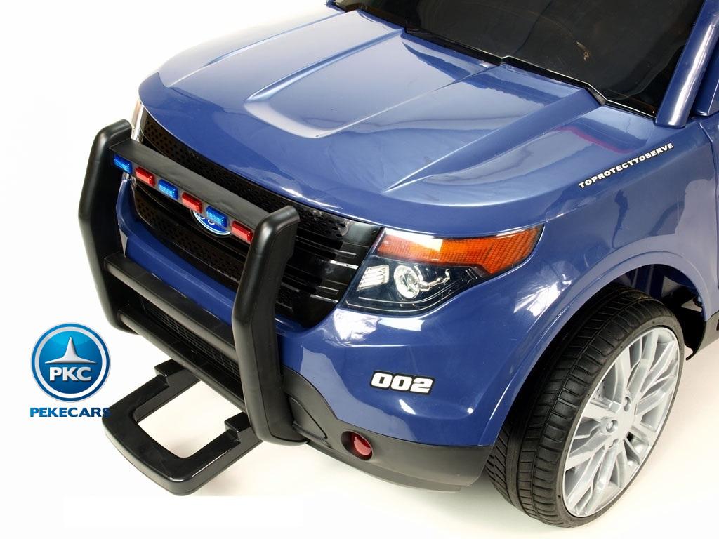 Pekecars Coche Electrico De Policia Azul 12V-011