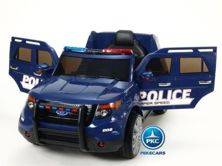 Pekecars Coche Electrico De Policia Azul 12V-04