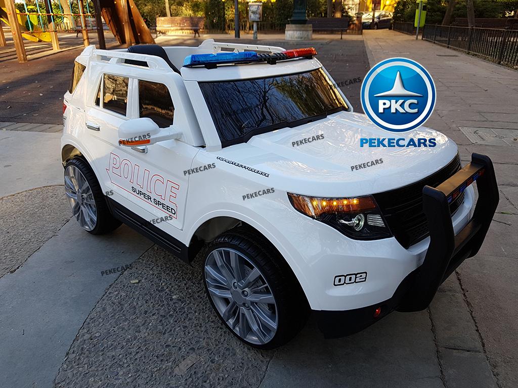 pekecars coche eléctrico de policía blanco 12v-001