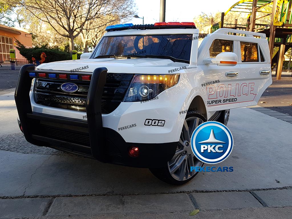 pekecars coche eléctrico de policía blanco 12v-002