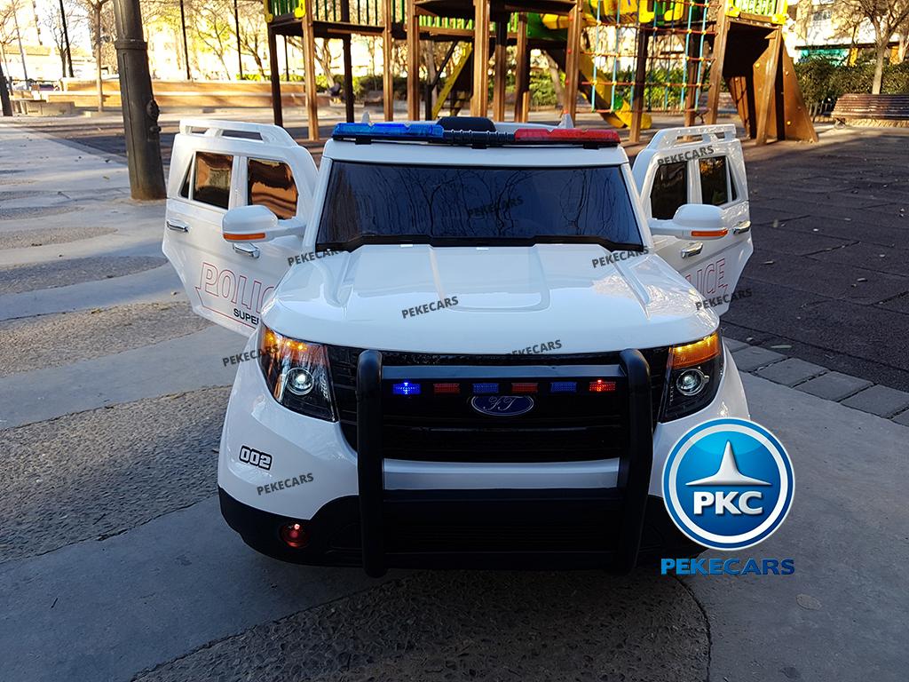 pekecars coche eléctrico de policía blanco 12v-003