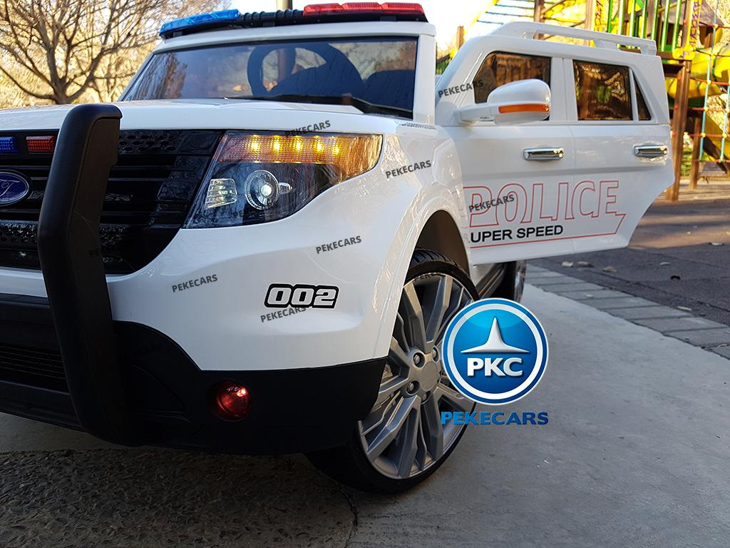 pekecars coche eléctrico de policía blanco 12v-004
