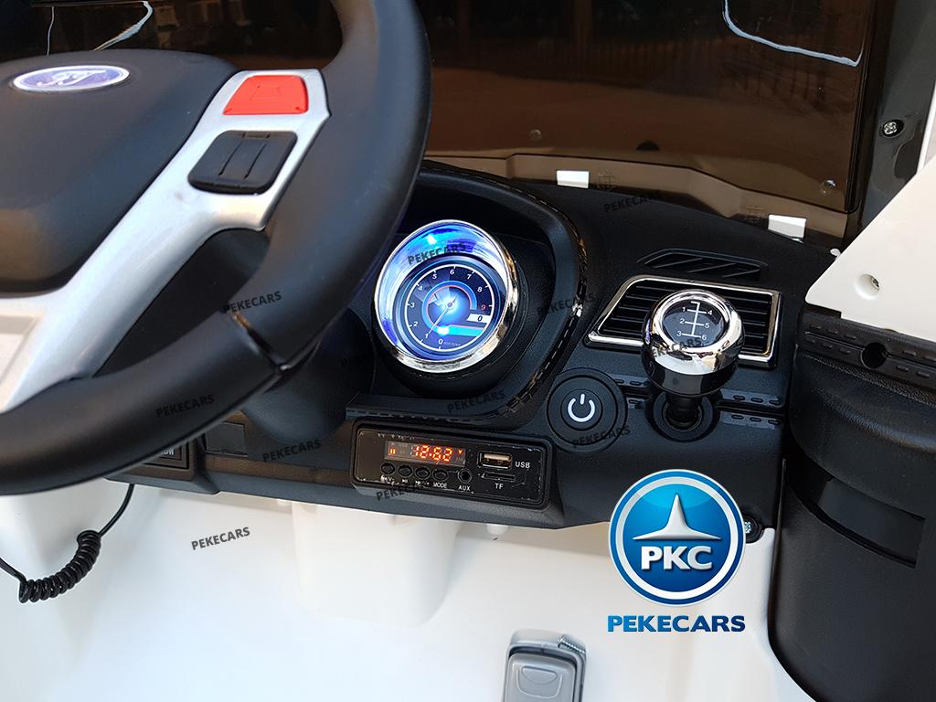 pekecars coche eléctrico de policía blanco 12v-005