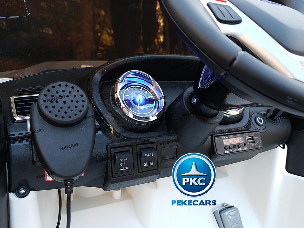 pekecars coche eléctrico de policía blanco 12v-006