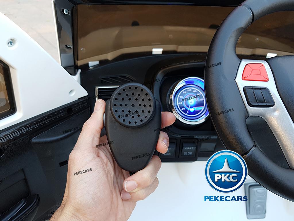pekecars coche eléctrico de policía blanco 12v-007
