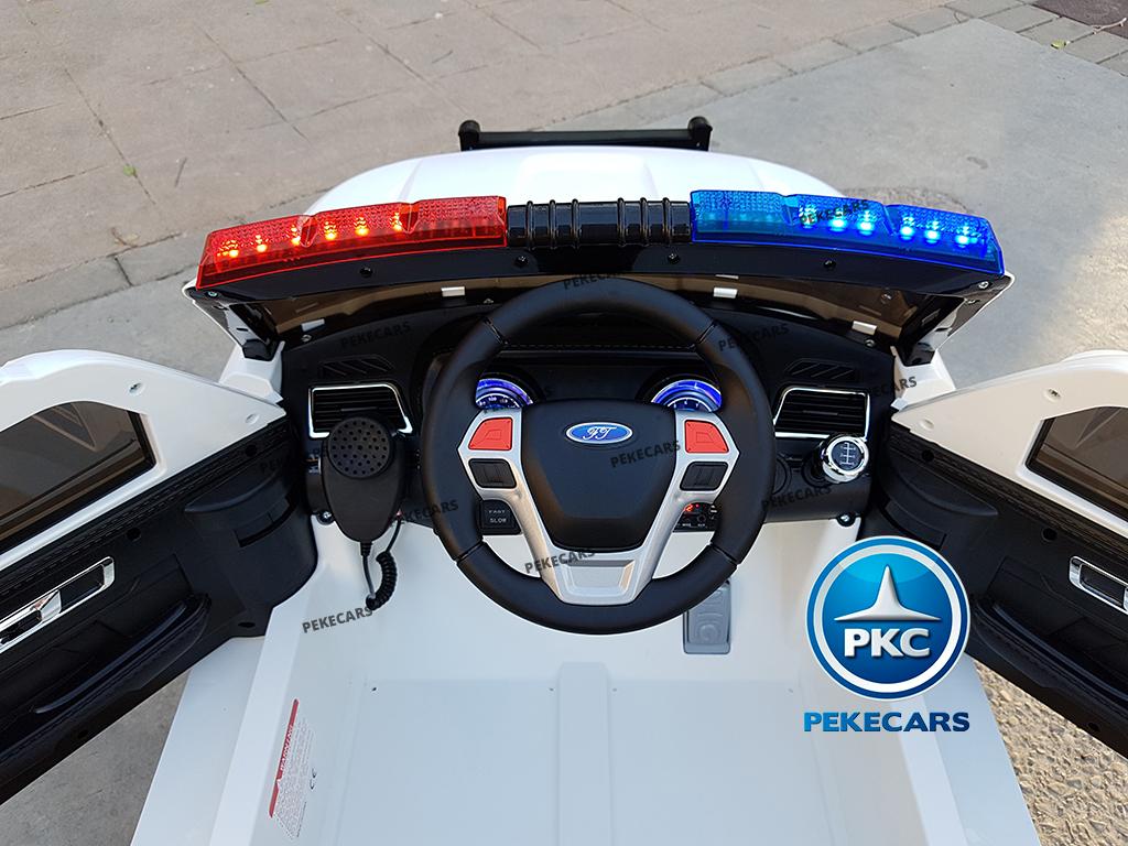 pekecars coche eléctrico de policía blanco 12v-008