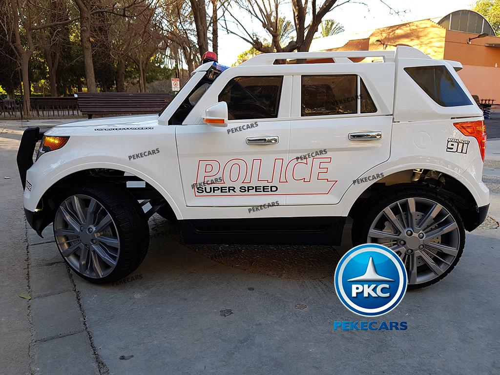 pekecars coche eléctrico de policía blanco 12v-011