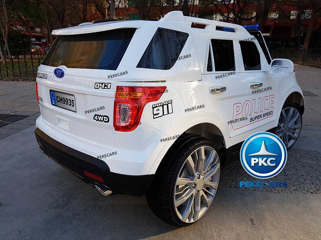 pekecars coche eléctrico de policía blanco 12v-012