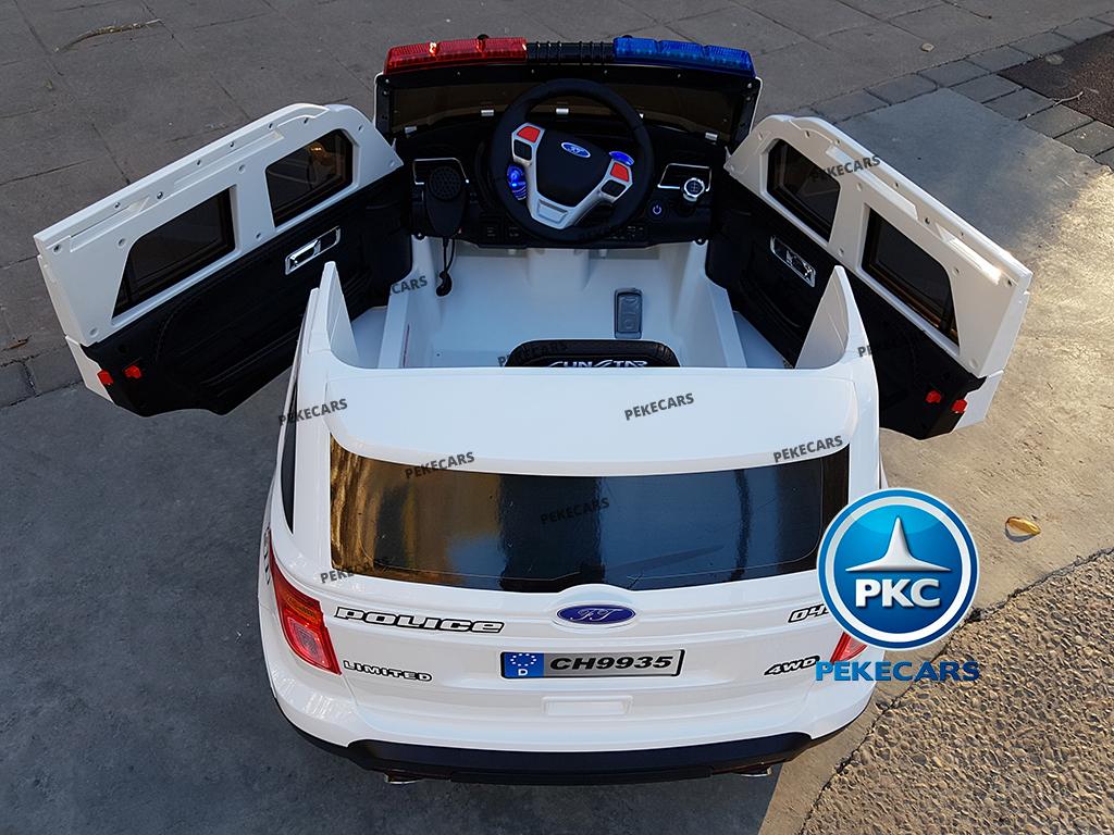 pekecars coche eléctrico de policía blanco 12v-013